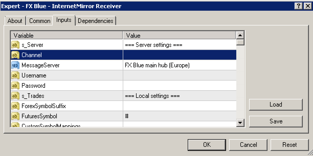 FX Blue Remote Trade Copier - Settings