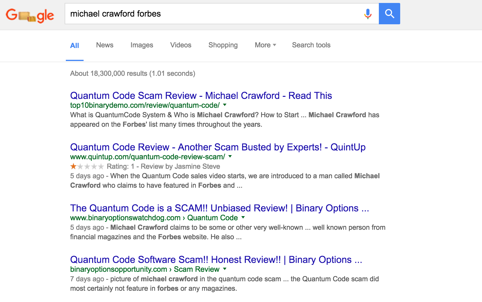 Quantum Code Review - Google for Michael Crawford + Forbes and you will see nothing about him in Forbes