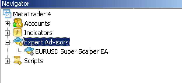 You should now see your MT4 Expert Advisor