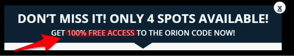 And they are giving away the Orion Code Binary Trading System... yeah, right!